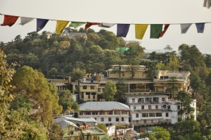 View from Pema Thang of the temple and residence of His Holiness
